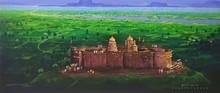 Religious Acrylic Art Painting title Jejuri Temple by artist Yogesh Lahane