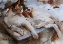 Vijay Jadhav | Oil Painting title Cat on Canvas | Artist Vijay Jadhav Gallery | ArtZolo.com