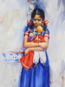 Vijay Jadhav | Watercolor Painting title Child Hood Fantacy 2 on Paper | Artist Vijay Jadhav Gallery | ArtZolo.com