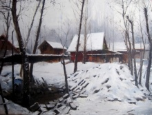 Vijay Jadhav | Oil Painting title Kashmir 1 on canvas | Artist Vijay Jadhav Gallery | ArtZolo.com