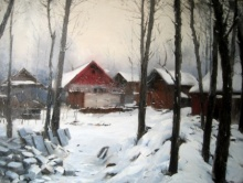 Vijay Jadhav | Oil Painting title Kashmir 3 on canvas | Artist Vijay Jadhav Gallery | ArtZolo.com