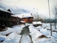Vijay Jadhav | Oil Painting title Kashmir 4 on canvas | Artist Vijay Jadhav Gallery | ArtZolo.com