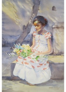 Vijay Jadhav | Watercolor Painting title Pearl In Gold on Paper | Artist Vijay Jadhav Gallery | ArtZolo.com