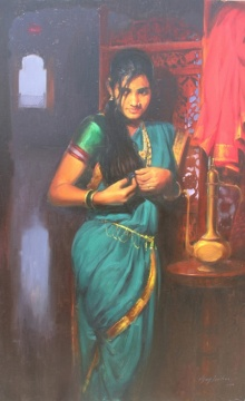 Vijay Jadhav | Oil Painting title Rajnigandha on Canvas | Artist Vijay Jadhav Gallery | ArtZolo.com
