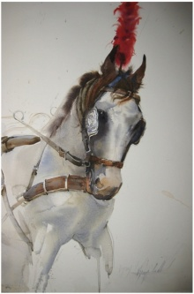 Vijay Jadhav | Watercolor Painting title Red Feather on Paper | Artist Vijay Jadhav Gallery | ArtZolo.com