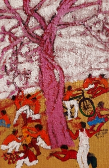 Figurative Acrylic Art Painting title 'Day 1' by artist Kumar Ranjan