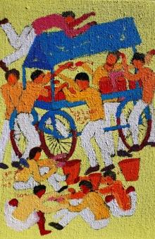 Figurative Acrylic Art Painting title 'Day 9' by artist Kumar Ranjan