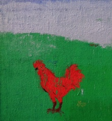contemporary Acrylic Art Painting title 'Green Field Blue Sky And A Cock' by artist Kumar Ranjan