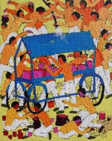 Figurative Acrylic Art Painting title 'Mid April' by artist Kumar Ranjan