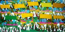 contemporary Acrylic Art Painting title 'Village' by artist Kumar Ranjan