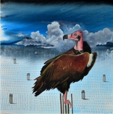 contemporary Acrylic-oil Art Painting title 'Vulture' by artist Ashish Kushwaha