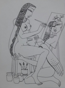Graphite Paintings | Drawing title Kamasutra on Paper | Artist Krishna Ashok