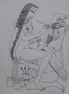 Erotic Graphite Art Drawing title 'Kamasutra' by artist Krishna Ashok