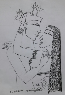 Graphite Paintings | Drawing title Kamasutra 5 on Paper | Artist Krishna Ashok