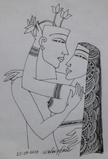 Erotic Graphite Art Drawing title Kamasutra 5 by artist Krishna Ashok