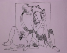 Graphite Paintings | Drawing title Kamasutra 6 on Paper | Artist Krishna Ashok