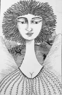 Figurative Pen-ink Art Drawing title 'Drawing Iii' by artist Sambuddha Gupta