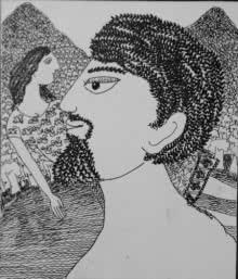 Figurative Pen-ink Art Drawing title Drawing Iv by artist Sambuddha Gupta