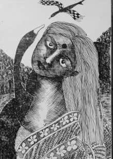 Figurative Pen-ink Art Drawing title 'Drawing V' by artist Sambuddha Gupta