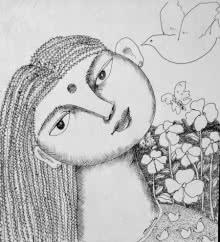 Figurative Pen-ink Art Drawing title Drawing Vii by artist Sambuddha Gupta