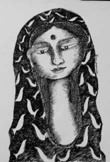 Figurative Pen-ink Art Drawing title Drawing Viii by artist Sambuddha Gupta