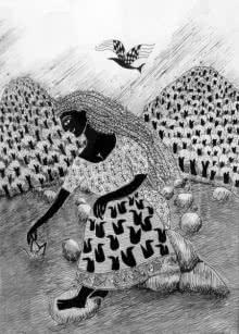 Figurative Pen-ink Art Drawing title 'Drawing X' by artist Sambuddha Gupta