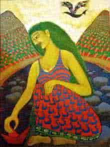 Fantasy Acrylic Art Painting title Effulgent by artist Sambuddha Gupta