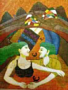 Fantasy Acrylic Art Painting title Harmony by artist Sambuddha Gupta