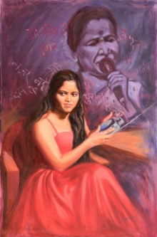 Figurative Oil Art Painting title 'Asha Asha Bhosle' by artist Swapnil Patil