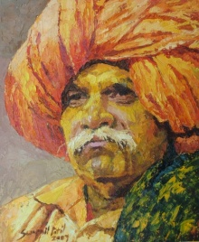 Figurative Oil Art Painting title 'Bhandara' by artist Swapnil Patil