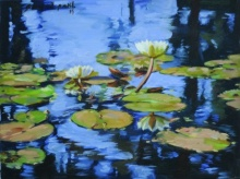 Nature Oil Art Painting title 'Lotus' by artist Swapnil Patil