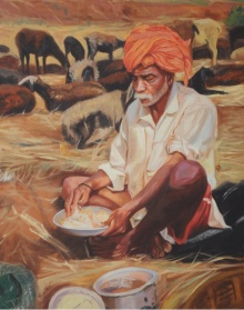Figurative Oil Art Painting title 'Lunch' by artist Swapnil Patil