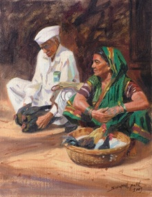 Figurative Oil Art Painting title 'Rural Market' by artist Swapnil Patil