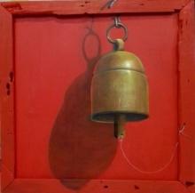 art, painting, canvas, acrylic, original, still life, bell