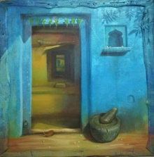 Still-life Acrylic Art Painting title 'Door' by artist Gopal Pardeshi