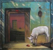 Gopal Pardeshi | Acrylic Painting title Aangan on Canvas | Artist Gopal Pardeshi Gallery | ArtZolo.com