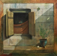 Gopal Pardeshi | Acrylic Painting title Khidki on Canvas | Artist Gopal Pardeshi Gallery | ArtZolo.com