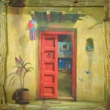 Still-life Acrylic Art Painting title 'Red Door' by artist Gopal Pardeshi