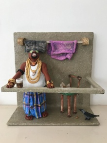 Paper Mache Sculpture titled 'Kholi No 35' by artist Bharati Pitre