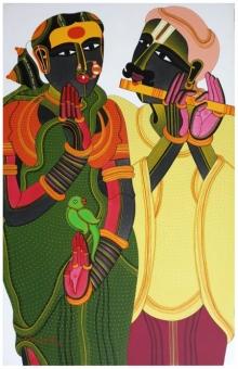 Figurative Acrylic Art Painting title Untitled 21 by artist Thota Vaikuntam