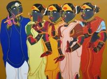 Figurative Acrylic Art Painting title 'Untitled 22' by artist Thota Vaikuntam