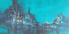 Cityscape Acrylic Art Painting title Blue City by artist Dnyaneshwar Dhavale