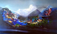 Abstract Acrylic Art Painting title 'Dream Village 2' by artist Dnyaneshwar Dhavale