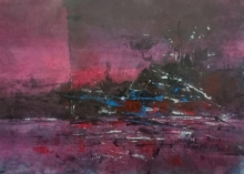 Abstract Acrylic Art Painting title Pink Evening 02 by artist Dnyaneshwar Dhavale