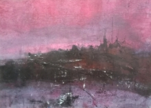 Abstract Acrylic Art Painting title Pink Evening 01 by artist Dnyaneshwar Dhavale