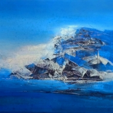 Abstract Acrylic Art Painting title 'Iceberg' by artist Dnyaneshwar Dhavale