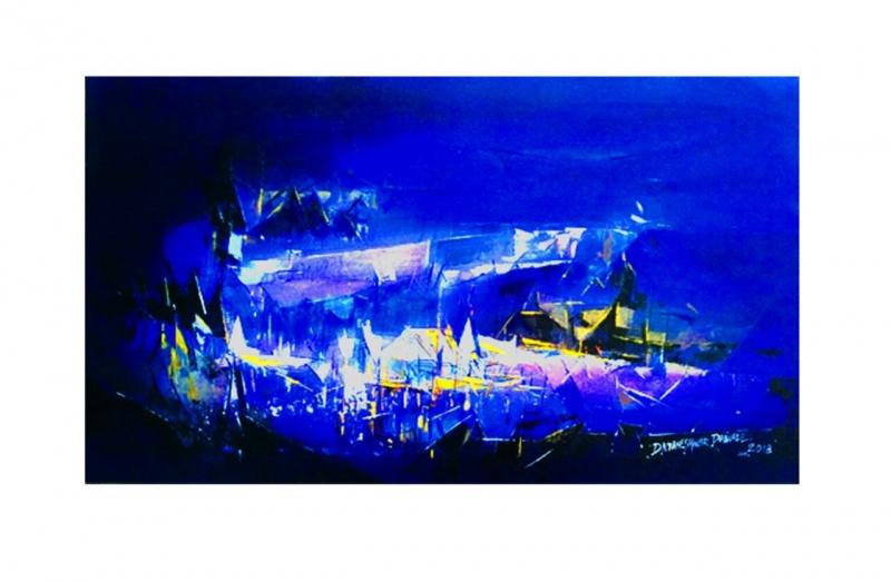 Dark Blue Painting By Dnyaneshwar Dhavale Artzolo Com