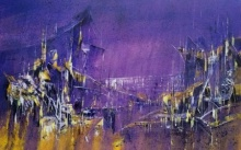 Dnyaneshwar Dhavale | Acrylic Painting title Midnight City 25 02 on Canvas | Artist Dnyaneshwar Dhavale Gallery | ArtZolo.com