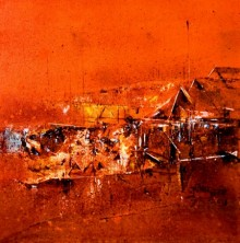 Abstract Acrylic Art Painting title 'Orange' by artist Dnyaneshwar Dhavale