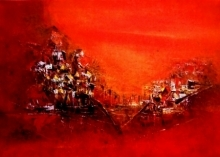 Dnyaneshwar Dhavale | Acrylic Painting title Red 18 on Acrylic on canvas